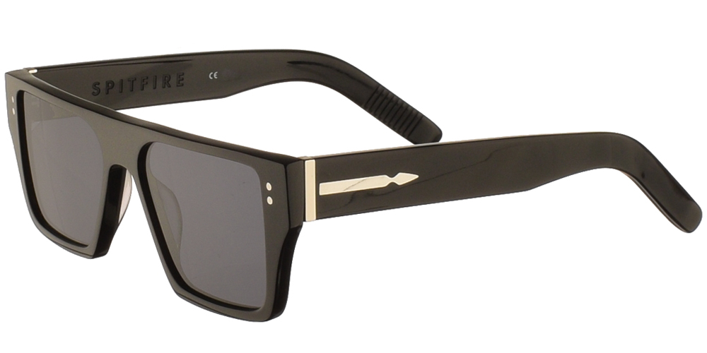 Unisex μεγάλα τετράγωνα κοκάλινα γυαλιά ηλίου Cut Seventeen σε μαύρο χρώμα και επίπεδους σκούρους γκρί φακούς της εταιρίας Spitfireγια μεσαία και μεγάλα πρόσωπα.
