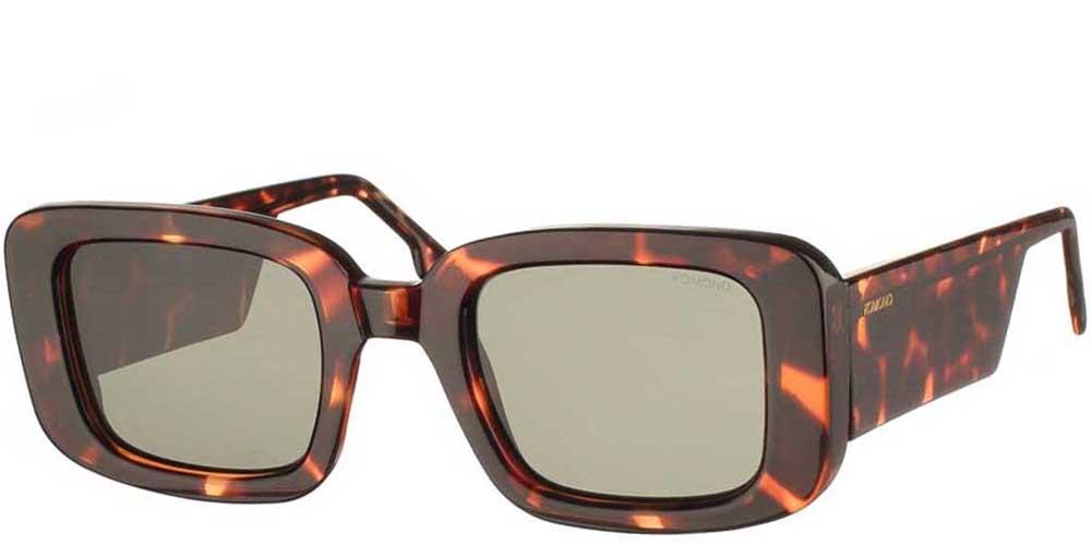 Τετράγωνα unisex κοκάλινα γυαλιά ηλίου Avery σε καφέ ταρταρούγα και σκούρους πράσινους φακούς της εταιρίας Komonoγια όλα τα πρόσωπα.
