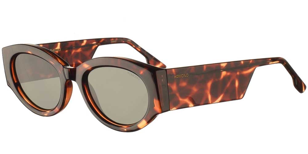 Κοκάλινα unisex γυαλιά ηλίου Dax σε καφέ ταρταρούγα και επίπεδους σκούρους πράσινους φακούς της εταιρίας Komonoγια όλα τα πρόσωπα.