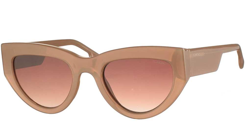 Γυναικεία κοκάλινα γυαλιά ηλίου πεταλούδα Kim σε μπεζ χρώμα και καφέ ντεγκραντέ φακούς της εταιρίας Komonoγια μεσαία και μεγάλα πρόσωπα.