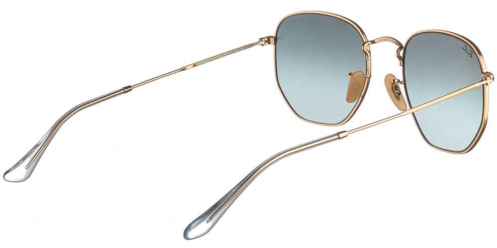 Τετράγωνα μεταλλικά unisex γυαλιά ηλίου RB 3548N σε χρυσό σκελετό και σκούρους μπλε ντεγκραντέ κρυστάλλους της εταιρίας Ray Banγια μεσαία και μεγάλα πρόσωπα.