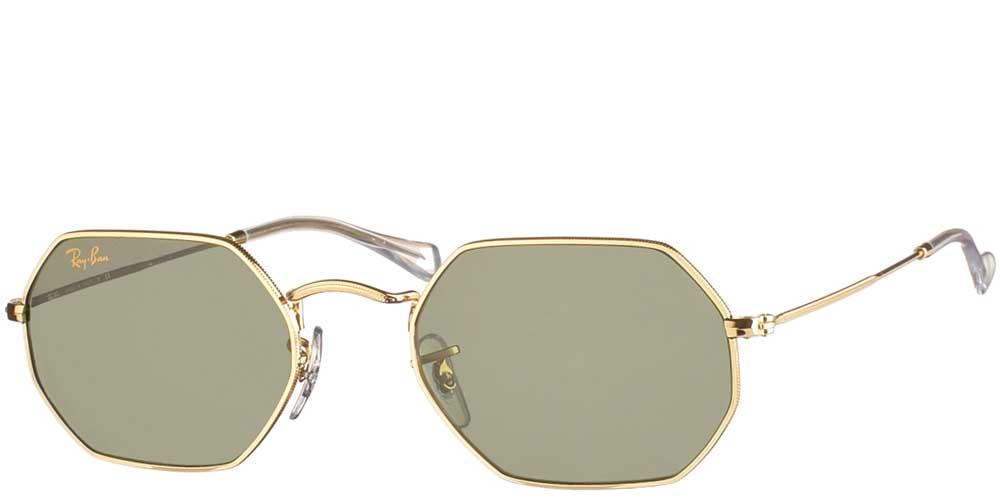 Μεταλλικά πολυγωνικά unisex γυαλιά ηλίου RB 3556N Octagonal σε χρυσό σκελετό και επίπεδους σκούρους πράσινους κρυστάλλους της εταιρίας Ray Banγια μικρά και μεσαία πρόσωπα.