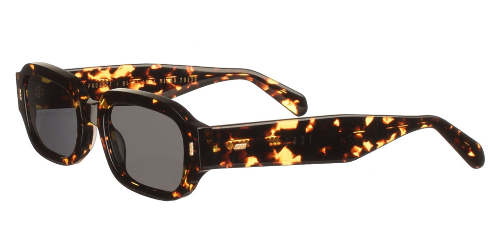 Handmade unisex acetate sunglasses Dear Friday Havana Flame in glossy tortoise and dark grey lenses with inner antireflex multi by Gastbest for all sized faces.