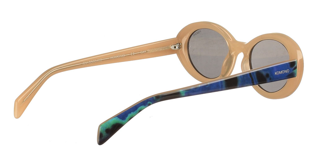 Women's round acetate sunglasses Ana Orbit in blue Bege color and dark Grey lenses by Komonobest for small and medium sized faces.