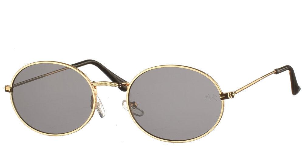 Μεταλλικά ανδρικά και γυναικεία οβάλ γυαλιά ηλίου Heist με χρυσό σκελετό και σκούρους γκρι φακούς της εταιρίας Armed Robberyκατάλληλο για όλα τα πρόσωπα.