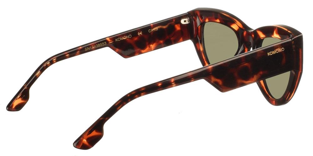 Γυναικεία κοκάλινα γυαλιά ηλίου πεταλούδα Kim Havana σε καφέ ταρταρούγα και σκουρόχρωμους πράσινους φακούς της εταιρίας Komonoγια μεσαία και μεγάλα πρόσωπα.