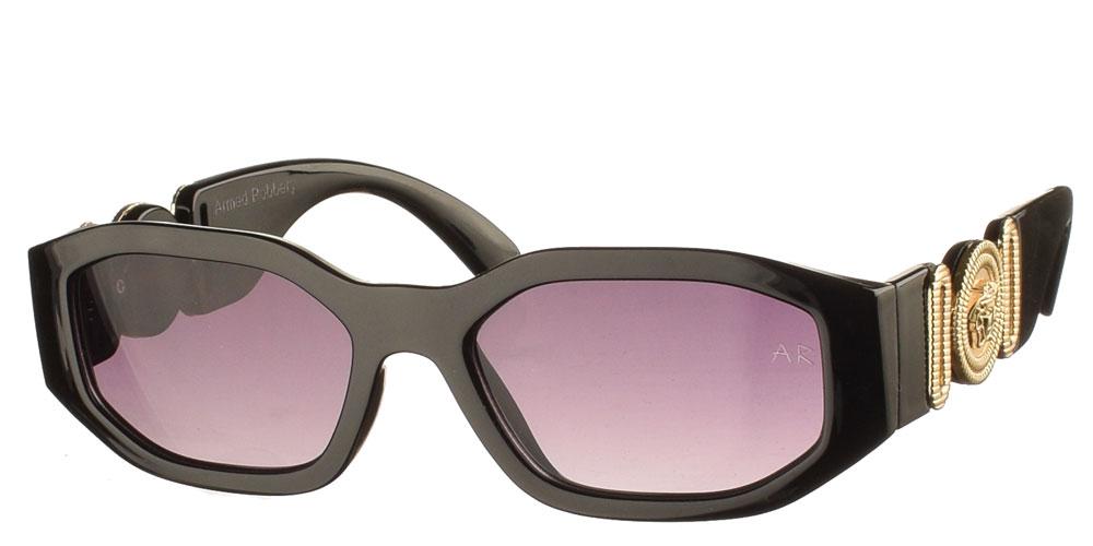 Κοκάλινα τετράγωνα γυναικεία και ανδρικά γυαλιά ηλίου Daddy μαύρα και ντεκραντε γκρι φακούς της εταιρίας Armed Robbery κατάλληλα για όλα τα πρόσωπα.