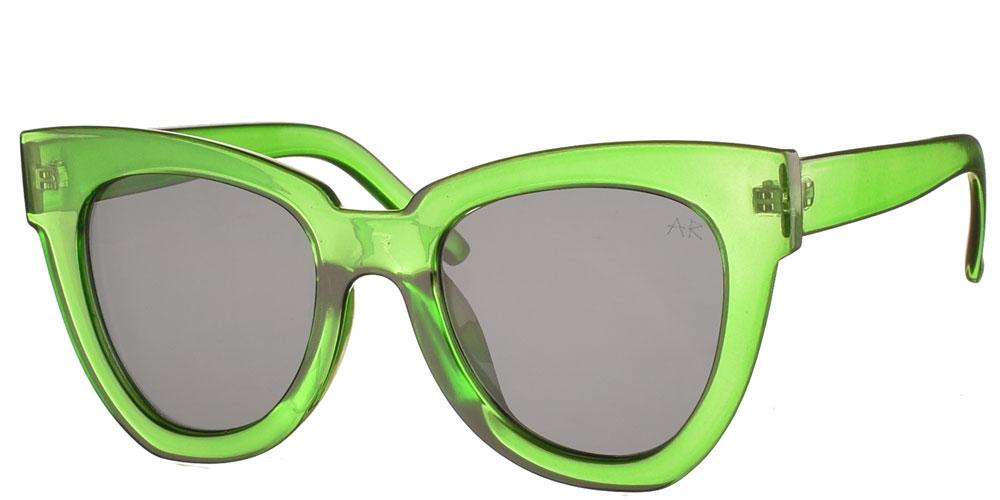 Κοκάλινα oversized γυναικεία γυαλιά ηλίου πεταλούδα Sandra πράσινοκαι σκούρους γκρι φακούς της εταιρίας Armed Robbery κατάλληλα για μεσαία και μεγάλα πρόσωπα.