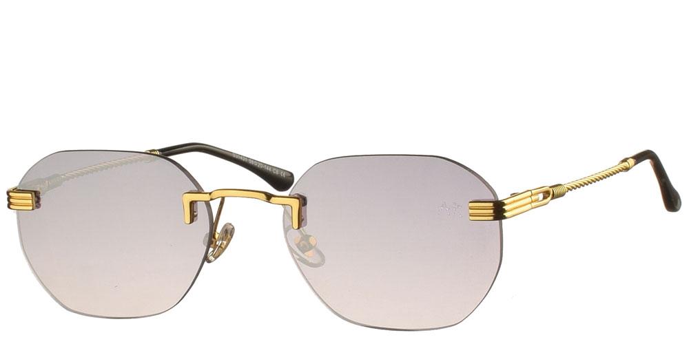 Πολυγωνικά unisex γυαλιά ηλίου Naked Gun με χρυσό σκελετό και γκρί ντεγκραντέ φακούς της εταιρίας Armed Robbery κατάλληλα για μεσαία και μεγάλα πρόσωπα.
