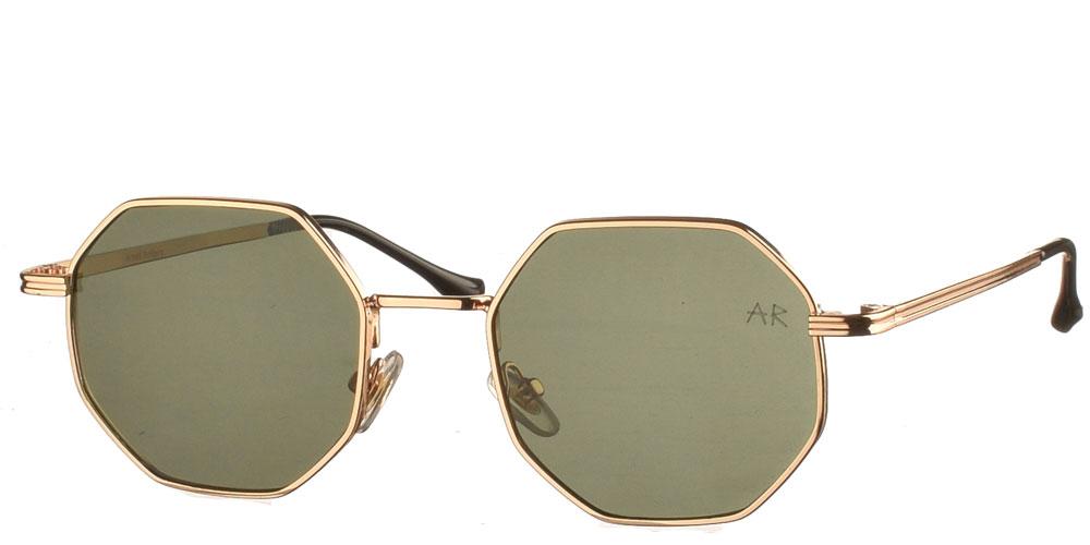 Πολυγωνικά μεταλλικά ανδρικά και γυναικεία γυαλιά ηλίου Frazer με χρυσό σκελετό και σκούρους πράσινους φακούς της εταιρίας Armed Robbery κατάλληλα για όλα τα πρόσωπα.