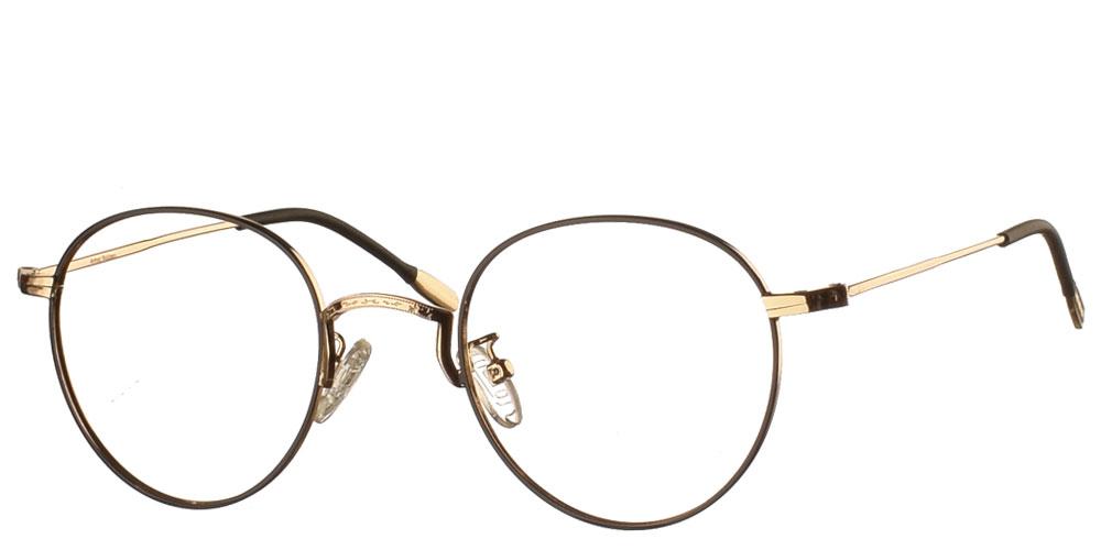 Μεταλλικά ανδρικά και γυναικεία στρογγυλά γυαλιά οράσεως 94's σε μαύρο χρώμα με χρυσές λεπτομέρειες της εταιρίας Armed Robbery κατάλληλο για όλα τα πρόσωπα.