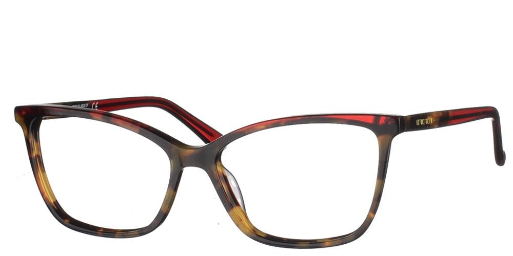 Γυναικεία μεταλλικά γυαλιά οράσεως πεταλούδα BF 154 03 σε καφέ ταρταρούγα και κόκκινο σκελετό της εταιρίας Glass of Brixton κατάλληλο μικρά και μεσαία πρόσωπα.