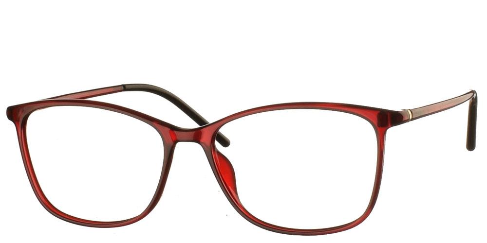 Τετράγωνα πεταλούδα κοκάλινα γυναικεία γυαλιά οράσεως G4011 B σε σκούρο κόκκινο σκελετό με μαγνητικό clip on με φακό γκρι polarized της εταιρίας Invu κατάλληλο για μικρά και μεσαία πρόσωπα.