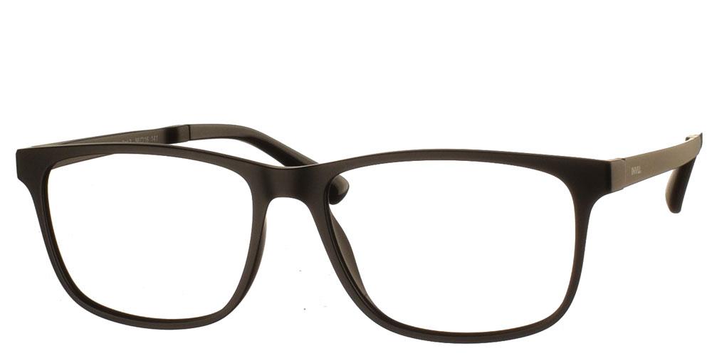 Τετράγωνα κοκάλινα ανδρικά γυαλιά οράσεως M4701 A σε ματ μαύρο σκελετό με μαγνητικό clip on με φακό γκρι polarized της εταιρίας Invu κατάλληλο για μεσαία και μεγάλα πρόσωπα.
