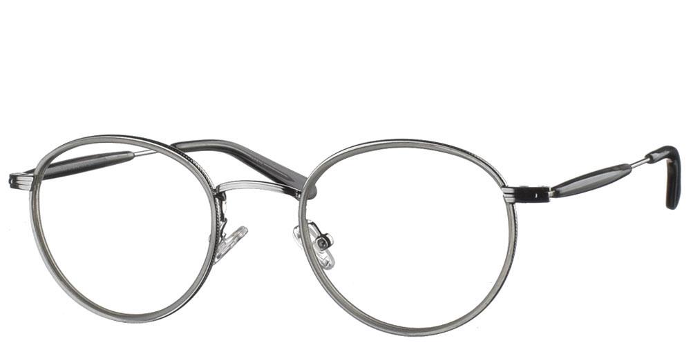 Στρογγυλά χειροποίητα μεταλλικά ανδρικά και γυναικεία γυαλιά οράσεως NY30065 1 ασημί με γκρι κοκάλινες λεπτομέρειες της εταιρίας Charles Stone κατάλληλα για μεσαία και μικρά πρόσωπα.