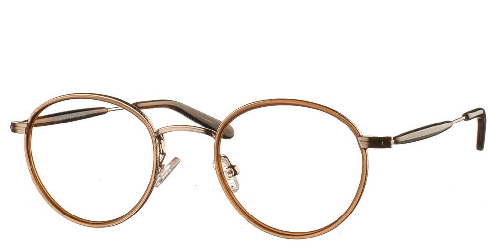 Στρογγυλά χειροποίητα μεταλλικά ανδρικά και γυναικεία γυαλιά οράσεως NY30065 2 χρυσά με καφέ κοκάλινες λεπτομέρειες της εταιρίας Charles Stone κατάλληλα για μεσαία και μικρά πρόσωπα.