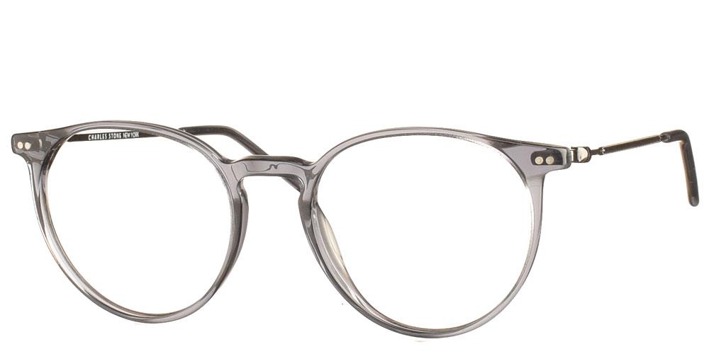 Στρογγυλά χειροποίητα κοκάλινα ανδρικά και γυναικεία γυαλιά οράσεως NY30071 2 διάφανα γρι της εταιρίας Charles Stone κατάλληλα για μεσαία και μικρά πρόσωπα.