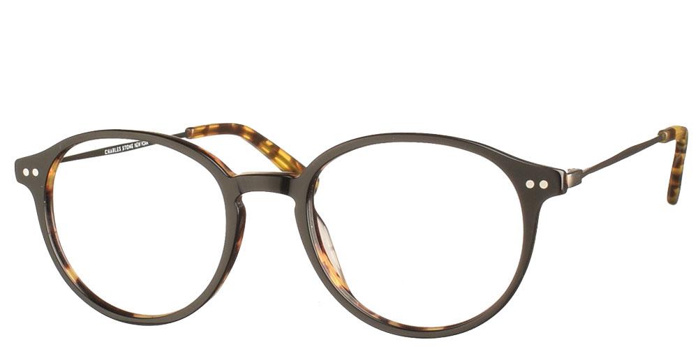 Στρογγυλά χειροποίητα κοκάλινα ανδρικά και γυναικεία γυαλιά οράσεως NY30079 1 μαύρα με καφέ ταρταρούγα και γκρι μεταλλικούς βραχίονες της εταιρίας Charles Stone κατάλληλα για μεσαία και μικρά πρόσωπα.