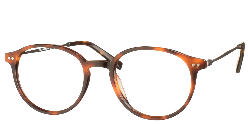 Στρογγυλά χειροποίητα κοκάλινα ανδρικά και γυναικεία γυαλιά οράσεως NY30079 2 καφέ ταρταρούγα με γκρι μεταλλικούς βραχίονες της εταιρίας Charles Stone κατάλληλα για μεσαία και μικρά πρόσωπα.