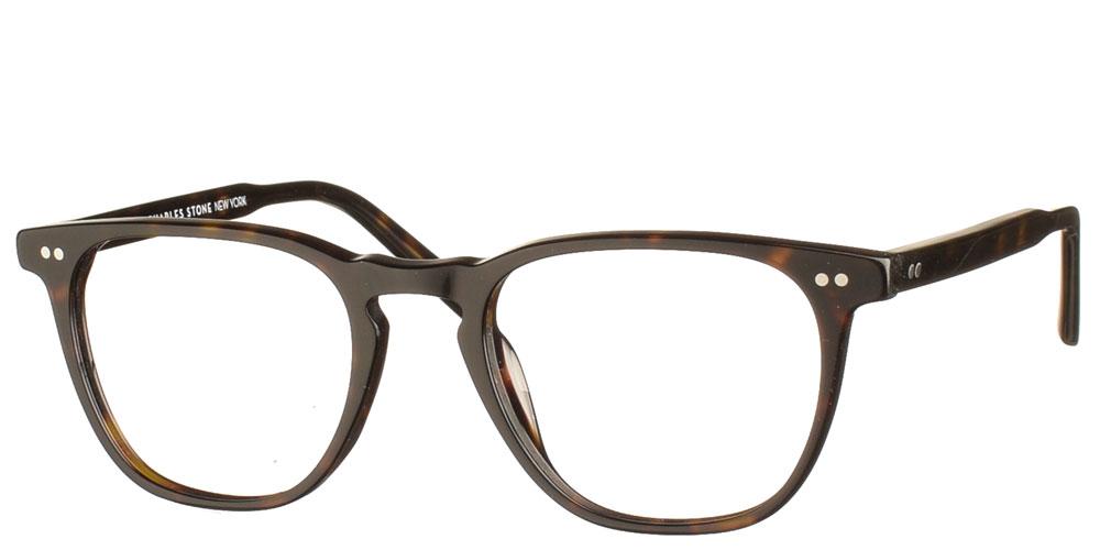 Τετράγωνα χειροποίητα κοκάλινα ανδρικά και γυναικεία γυαλιά οράσεως NY30085 1 σε σκούρο καφέ ταρταρούγα της εταιρίας Charles Stone κατάλληλα για μεσαία και μικρά πρόσωπα.