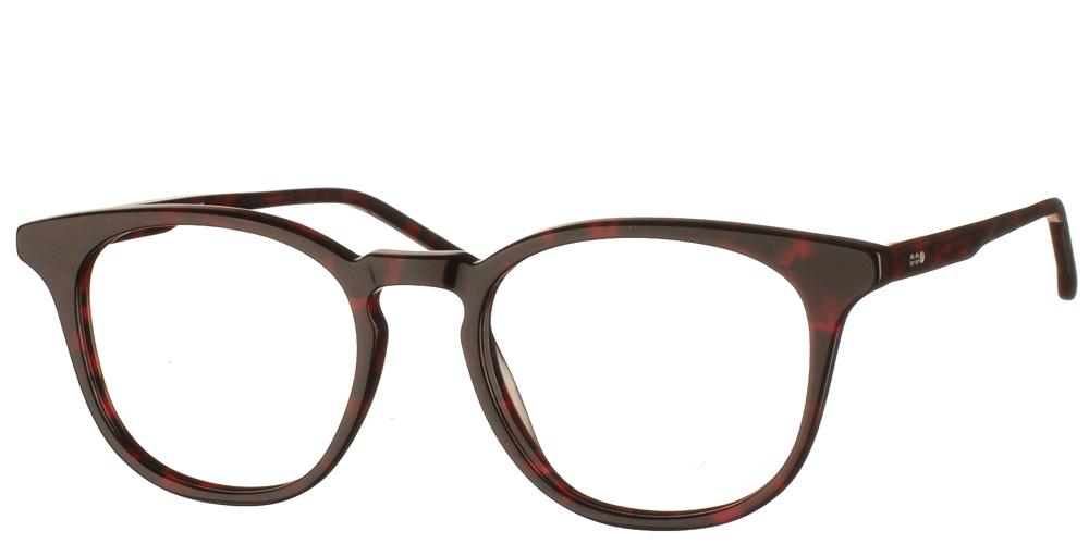 Τετράγωνα κοκάλινα γυναικεία και ανδρικά γυαλιά οράσεως Beaumont Red Tortoise σε σκούρα κόκκινη ταρταρούγα της εταιρίας Komonoγια όλα τα πρόσωπα.