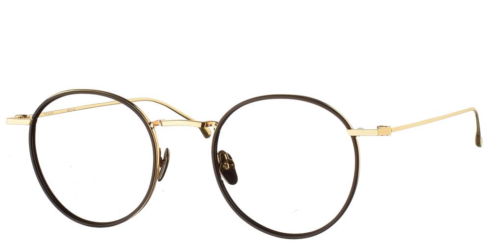 Στρογγυλά χρυσά μεταλλικά ανδρικά και γυναικεία γυαλιά οράσεως Dean Gold Black με μαύρες κοκάλινες λεπτομέρειες της εταιρίας Komono κατάλληλο για όλα πρόσωπα.