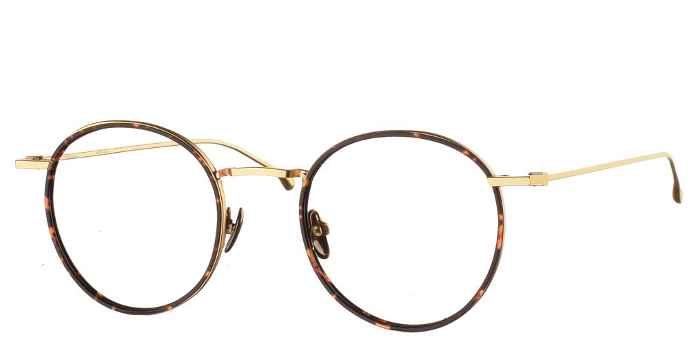 Στρογγυλά χρυσά μεταλλικά ανδρικά και γυναικεία γυαλιά οράσεως Dean Gold Tortoise με καφέ ταρταρούγα κοκάλινες λεπτομέρειες της εταιρίας Komono κατάλληλο για όλα πρόσωπα.