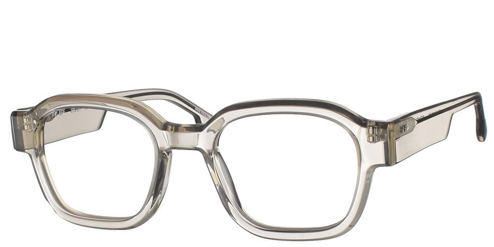 Κοκάλινα τετράγωνα ανδρικά και γυναικεία γυαλιά οράσεως Jeff Ash γκρι διάφανα με χοντρό κοκάλινο σκελετό της εταιρίας Komono κατάλληλα για όλα τα πρόσωπα.