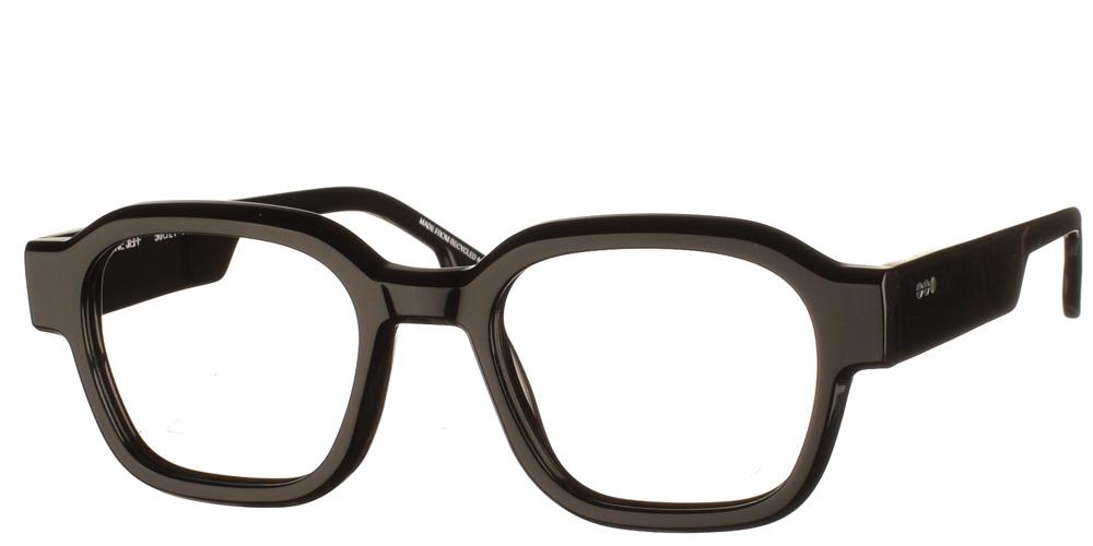 Κοκάλινα τετράγωνα ανδρικά και γυναικεία γυαλιά οράσεως Jeff Black μαύρα με χοντρό κοκάλινο σκελετό της εταιρίας Komono κατάλληλα για όλα τα πρόσωπα.