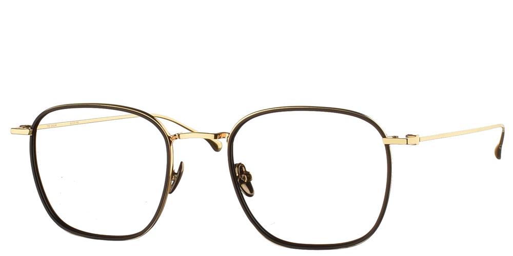 Τετράγωνα χρυσά μεταλλικά ανδρικά και γυναικεία γυαλιά οράσεως Oscar Gold Black με μαύρες κοκάλινες λεπτομέρειες της εταιρίας Komonoγια μεσαία και μεγάλα πρόσωπα.