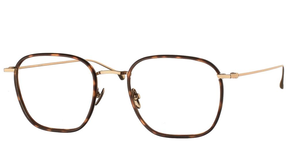 Τετράγωνα χρυσά μεταλλικά ανδρικά και γυναικεία γυαλιά οράσεως Oscar White Gold Havana με καφέ ταρταρούγα κοκάλινες λεπτομέρειες της εταιρίας Komonoγια μεσαία και μεγάλα πρόσωπα.