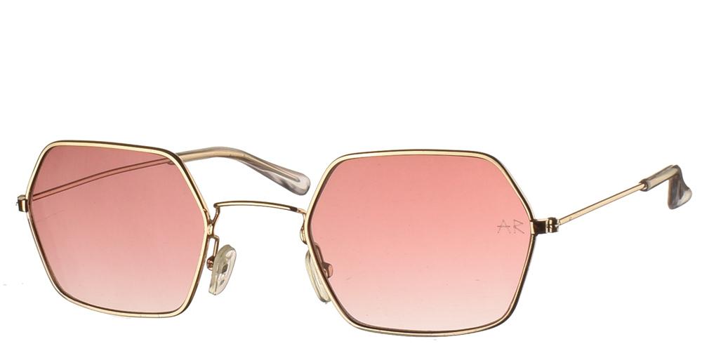 Πολυγωνικά μακρόστενα unisex γυαλιά ηλίου Starr 2 με χρυσό πολύ ελαφρύ μεταλλικό σκελετό και καφέ ντεγκραντε φακούς της εταιρίας Armed Robbery κατάλληλα για μεσαία και μεγάλα πρόσωπα.
