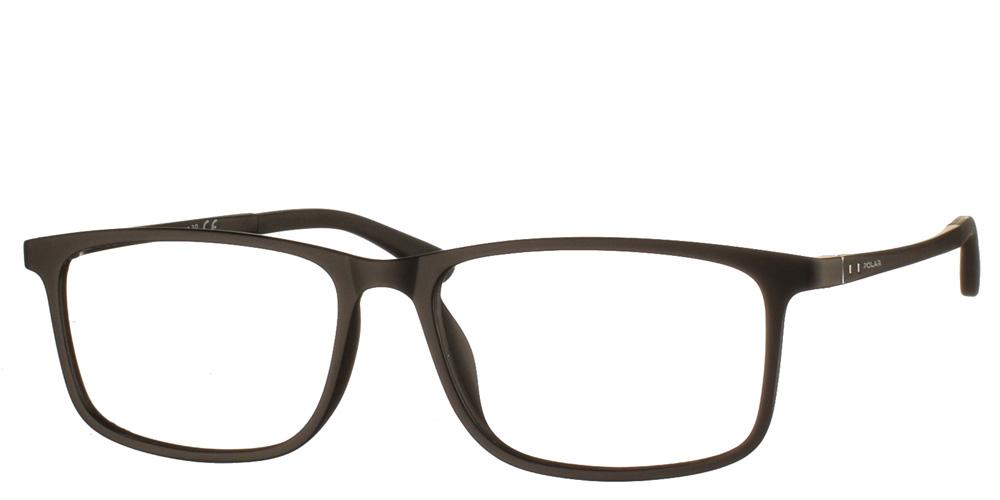Τετράγωνα ελαφριά ανδρικά κοκάλινα γυαλιά οράσεως 401 76 μαύρα ματ με πρόσθετο μαγνητικό clip on ηλίου polarized της εταιρίας Polar κατάλληλα για μεσαία και μεγάλα πρόσωπα.